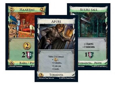 Esimerkkikortteja. Nämä eivät ole skannauksia, korttien tekstit ovat siistimpiä oikeissa korteissa. Kuva: Lautapelit.fi