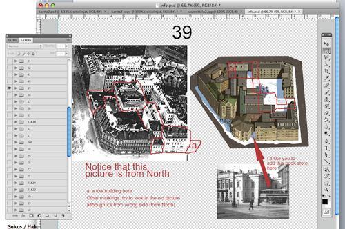 Graafikko Tim Foleylle lähetettyjä Photoshop-malleja. Kuva: Kimmo Sorsamo