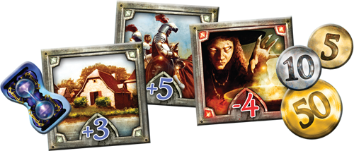 Kingdomsin laattoja. Kuva: Fantasy Flight Games