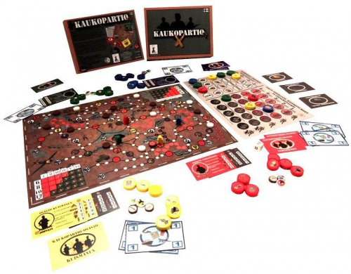 Kaukopartio-pelin sisältö. Kuva: Nappulakenraali