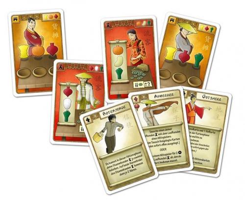 Kortteja saksankielisestä laitoksesta: torikojuja, asiakkaita ja apulaisia. Kuva: Hall Games